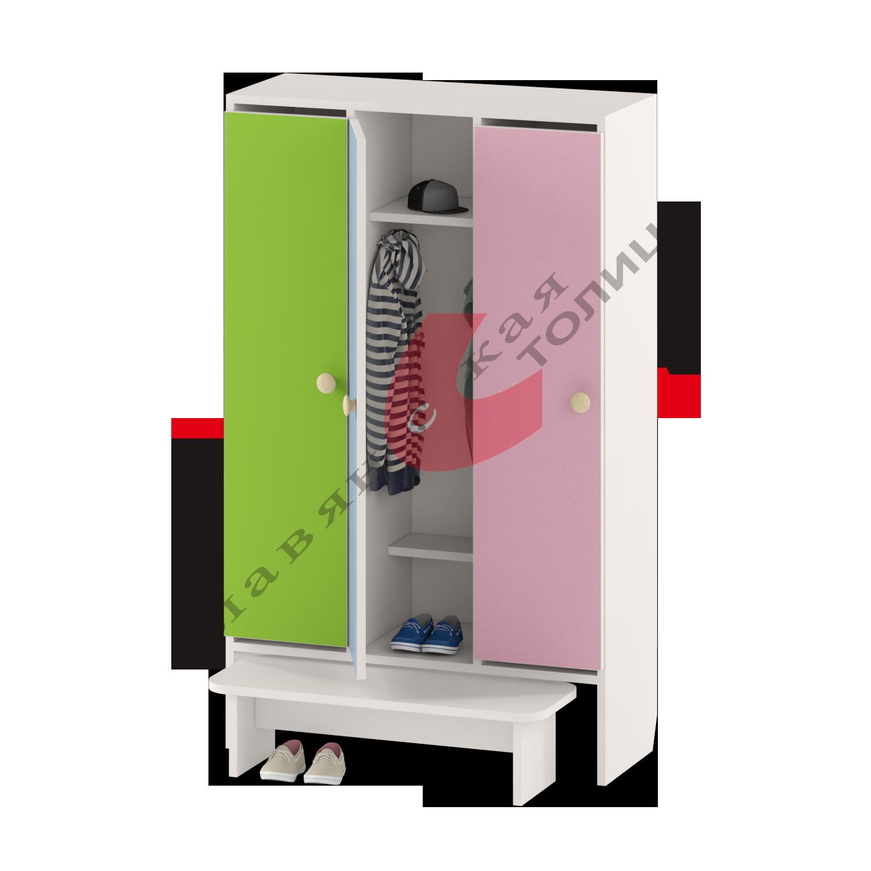 Шкаф для детской одежды трехдверный ДУ-Ш3 + ДУ-С2