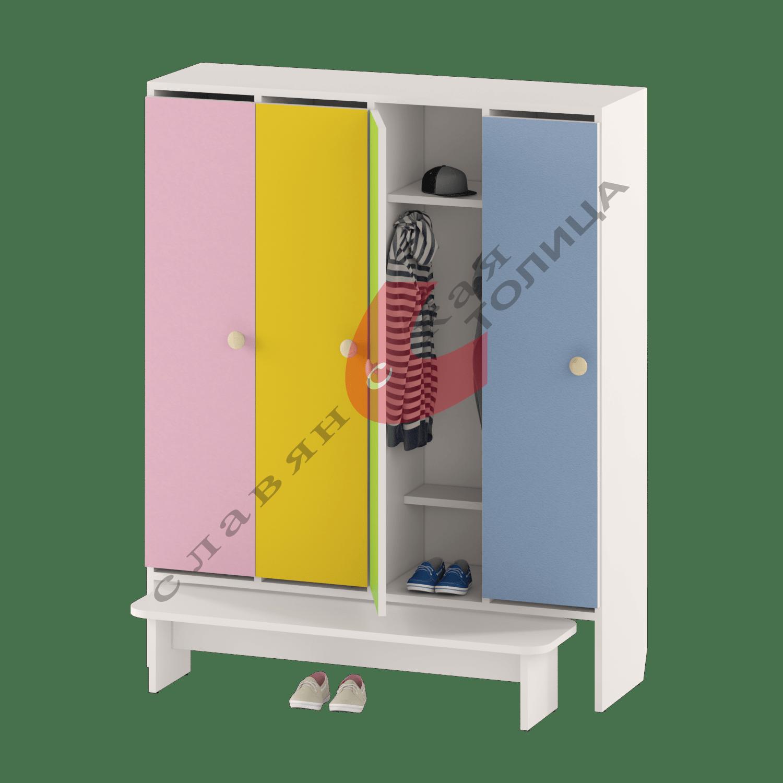 Шкаф для детской одежды четырехдверный ДУ-Ш4 + ДУ-С3