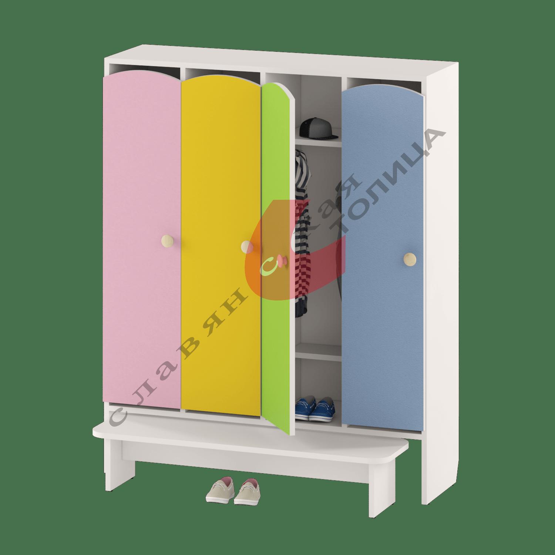 Шкаф для детской одежды четырехдверный ДУ-ШР4-1 + ДУ-С3