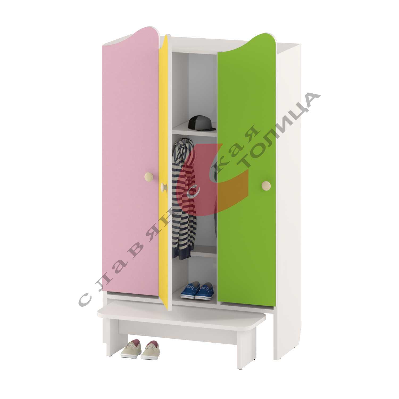 Шкаф для детской одежды трехдверный ДУ-ШР3-2 + ДУ-С2