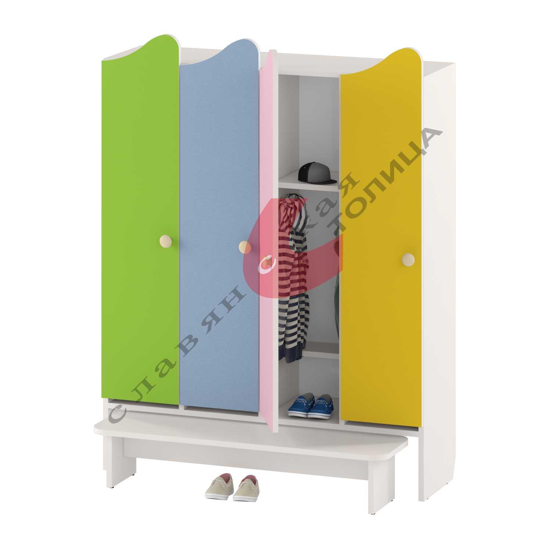 Шкаф для детской одежды четырехдверный ДУ-ШР4-2 + ДУ-С3